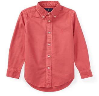 Ralph Lauren Garment-Dye Oxford Button-Down Shirt, Red, Size 2-4