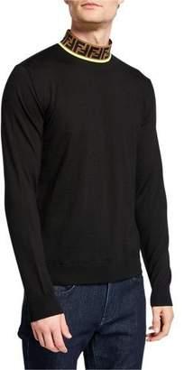 Fendi Men's FF Mock-Neck Fleece Sweater