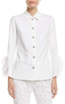 Michael Kors Jewel-Buttons Long-Sleeve Classic Stretch-Poplin Shirt