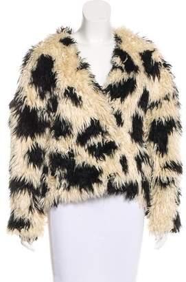 Tibi Faux Fur Printed Jacket