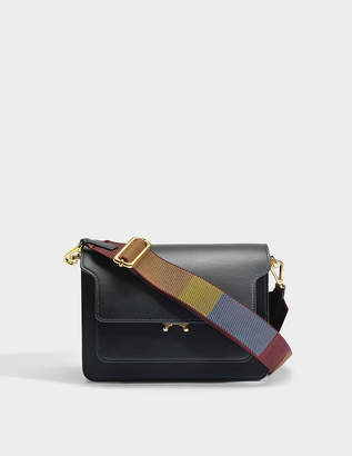 Marni Trunk Medium Bag with Guitar Strap in Black Calf Leather