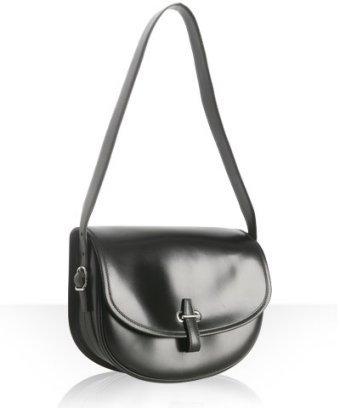 Hermes black leather 'Golf' small shoulder bag