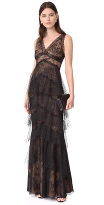 Marchesa Notte Lace Gown with Tulle Skirt $995 thestylecure.com