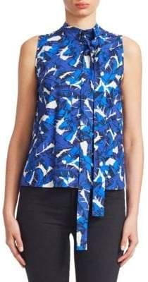 MSGM Floral Sleeveless Tie-Neck Top