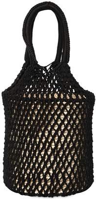 Sensi Studio Macrame & Straw Bucket Bag