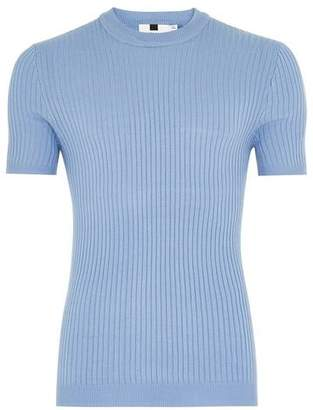 Topman Mens Light Blue Ribbed Muscle Fit Sweater