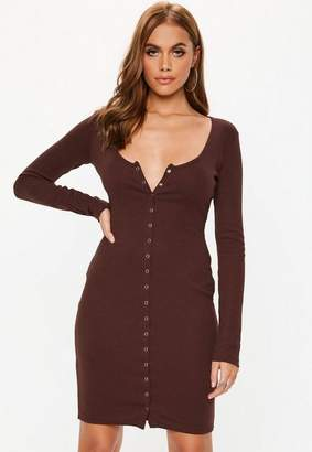 Missguided Tall Burgundy Ribbed Popper Long Sleeve Mini Dress