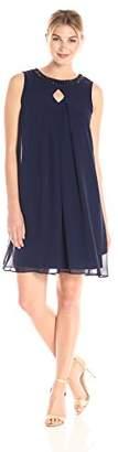 Sandra Darren Women's 1 Pc Sleeveless Chiffon Necklace Dress