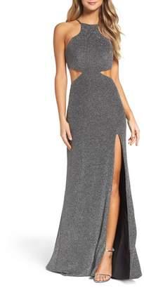 La Femme Metallic Jersey Gown