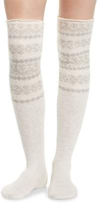 Lemon Fair Isle Over the Knee Socks