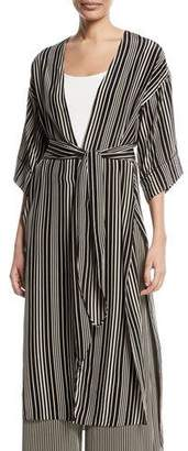 Halston Long V-Neck Self-Tie Kimono Jacket