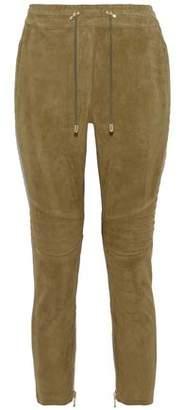 Balmain Cropped Quilted-Paneled Suede Slim-Leg Pants
