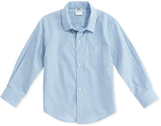 Appaman Boys' Poplin Button-Down Shirt, Blue, 2T-14
