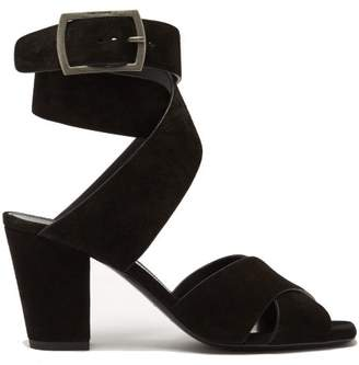 Saint Laurent Oak Cross Over Strap Suede Sandals - Womens - Black