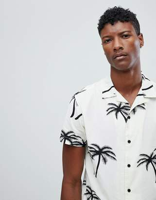 Jack and Jones Originals Short Sleeve Shirt With Revere Collar In Palm Tree Print