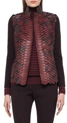 Akris Python-Embellished Leather Jacket, Aubergine $5,990 thestylecure.com
