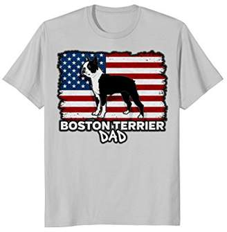 Mens Boston Terrier Dad Dog American Flag T-shirt
