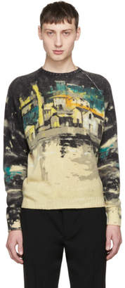 Prada Beige and Grey Shetland Village Sweater