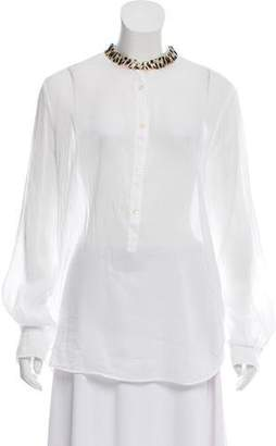 Giada Forte Semi-Sheer Button-Up Tunic w/ Tags