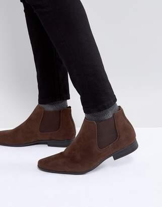 New Look Faux Suede Chelsea Boots In Dark Brown