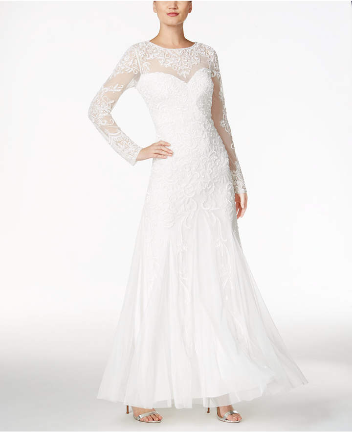 Adrianna Papell Adrianna Papell Beaded Illusion Sweetheart Gown