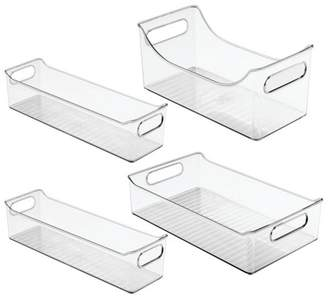 clear mDesign Plastic Food Storage Bins for Kitchen Cabinet, Pantry, Set of 4