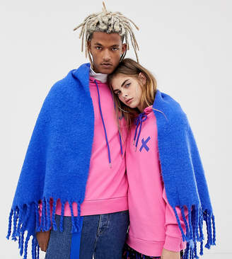 Collusion COLLUSION Unisex chunky blanket scarf in blue