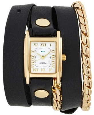 Women's La Mer Collections Leather & Chain Wrap Watch, 19Mm $120 thestylecure.com