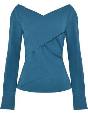 Theory Wrap-Effect Stretch-Silk Crepe Top