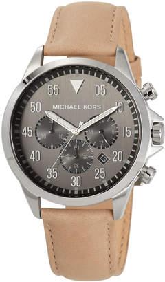 MICHAEL Michael Kors 45mm Gage Leather Chronograph Watch, Gray