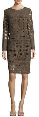 Nic+Zoe Long-Sleeve Lacy Knit Sheath Dress, Petite