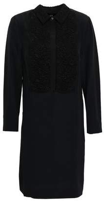Burberry Guipure Lace-paneled Silk Crepe De Chine Mini Shirt Dress