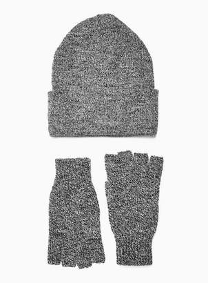 Topman Mens Grey Skater Beanie And Fingerless Gloves Multipack