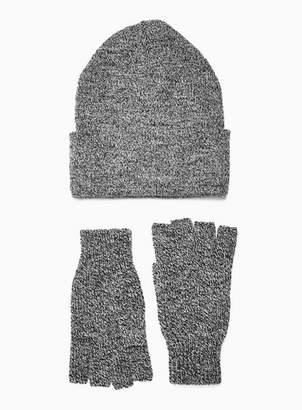Topman Mens Grey Skater Beanie And Fingerless Gloves Multipack*