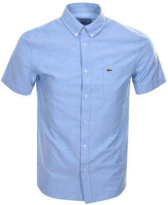 Lacoste Short Sleeved Oxford Shirt Blue