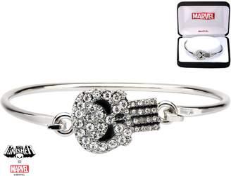 Marvel Women's Stainless Steel Punisher Clear Gem Bangle with Precison Set Cubic Zirconia Gems Bracelet