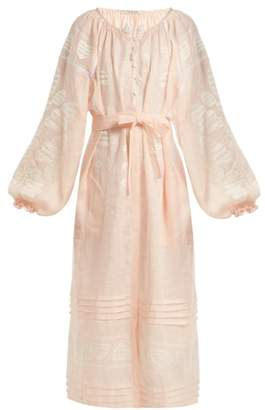 Vita Kin - Leaf Embroidered Tie Waist Linen Dress - Womens - Light Pink