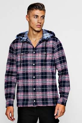 boohoo Check Flannel Long Sleeve Shirt With Hood