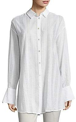 89a334ff6 Becken Women s Oversized Cotton Voile Button-Down Shirt