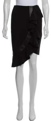 Sophie Theallet Leather-Trimmed Knee-Length Skirt