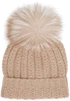 William Sharp Cashmere Crystal Pom Pom Hat