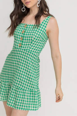Lush Clothing Button Gingham Dress