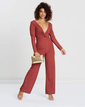 PETITE Ribbed Twist-Front Go Jumpsuit