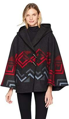 Pendleton Women's Wool Hooded Shawl Collar Cape