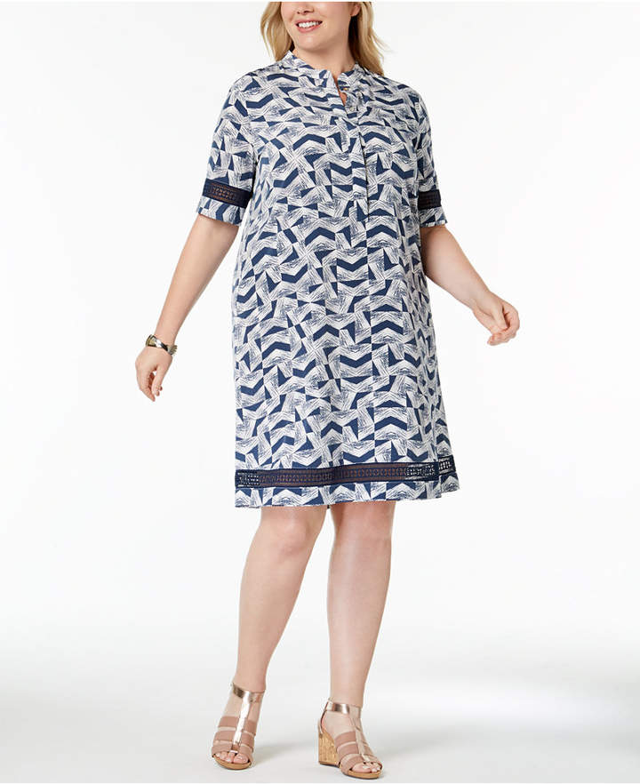 Plus Size Printed Lace-Trim Shirtdress, Created for Macy's