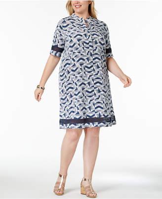 Alfani Plus Size Printed Lace-Trim Shirtdress, Created for Macy's