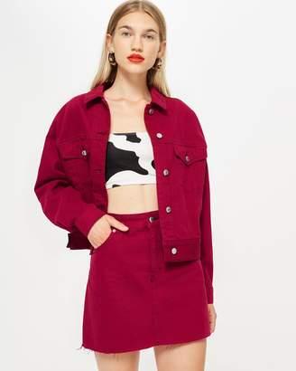 Topshop Cherry Red Denim Jacket
