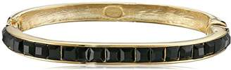 Kenneth Jay Lane Gold and Square Stones Hinged Bangle Bracelet