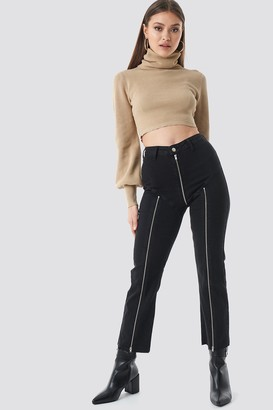 Chloé B X Na Kd Cropped Zipper Jeans Black