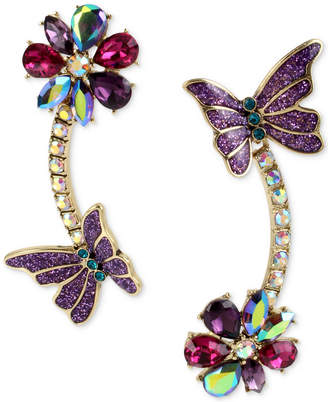Betsey Johnson Gold-Tone Multi-Stone Flower & Butterfly Mismatch Linear Drop Earrings